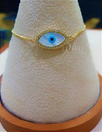 Pulseira Olho Grego Regulável Banhado em Ouro18k