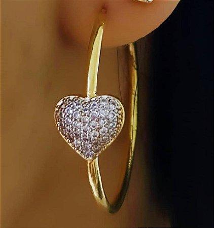 Brinco Argola Coração 3.0 cm diâmetro com Micro Zircônias Cristais Banhado em Ouro18k