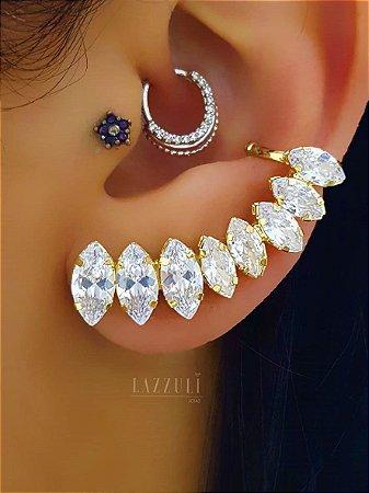 Brinco Ear Cuff com Zircônia Navete Cristal Banhado em Ouro18k