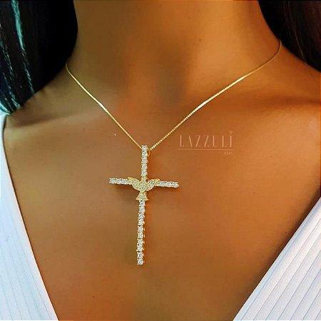 Colar Cruz com Espírito Santo com Zircônias Cristais Banhado em Ouro18k