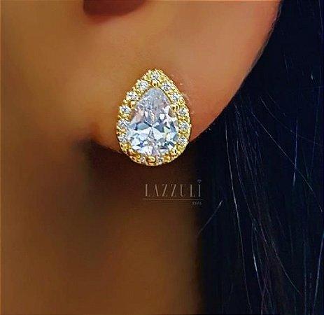 Brinco Gota 1.0 cm Luxury com Micro Zircônias e Zircônia Cristal Banhado em Ouro18k