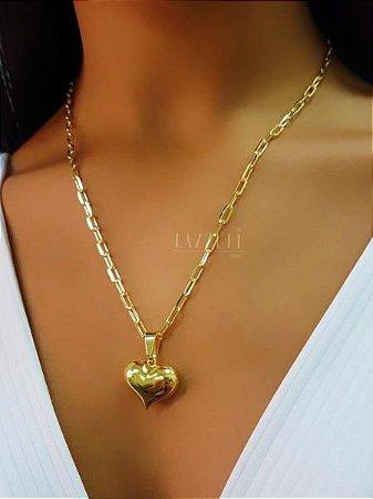 Colar Elo C. 50 cm com Pingente Coração Banhado em Ouro18k
