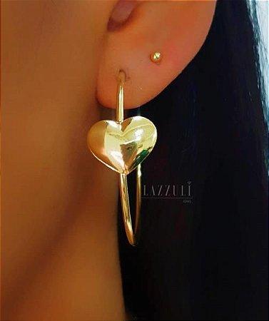 Brinco Argola 1 Coração Liso Banhado em Ouro18k