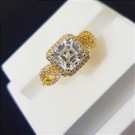Anel Solitário Harmony Luxury com Micro Zircônias Banhado em Ouro18k