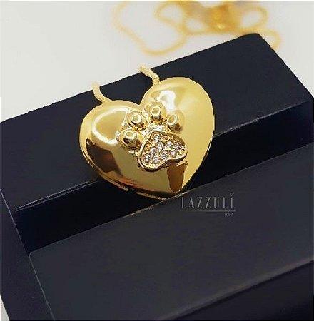 Colar Patinha com Coração com Micro Zircônias Banhado em Ouro18k