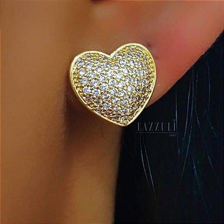 Brinco Coração com Micro Zircônias Banhado em Ouro18k (SKU: 00030969)