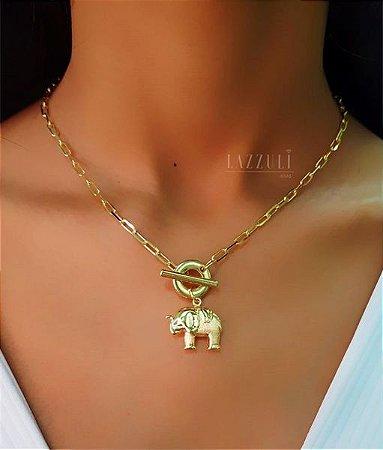 Colar Elo C. com Pingente Elefante Banhado em Ouro18k
