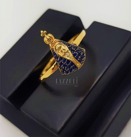 Anel Nossa Senhora com Micro Zircônia Azul Banhado em Ouro18k
