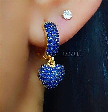 Brinco Argola com Pêndulo de Coração Micro Zircônia Azul banhado em Ouro18k