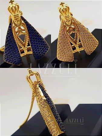 Colar Nossa Senhora Dupla Face com Zircônia Cristal e Azul Banhado em Ouro18k