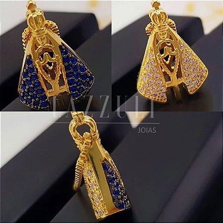 Colar Nossa Senhora Pequeno Dupla Face com Zircônia Cristal e Azul Banhado em Ouro18k