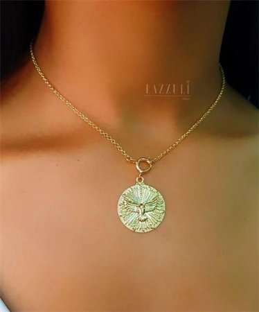 Colar Mini Elo Português com Pingente Mandala Espírito Santo Banhado em Ouro18k