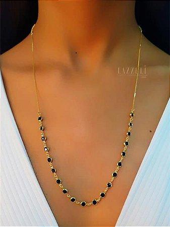 Colar Longo Tiffany Cristal Negro Banhado em Ouro18k (SKU: 00051440)