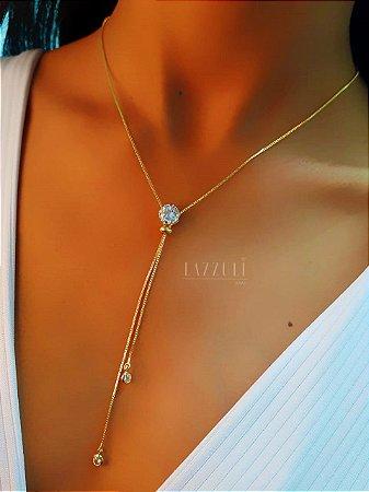 Colar Gravatinha Regulável Ponto de Luz Zircônia Cristal Banhado em Ouro18k