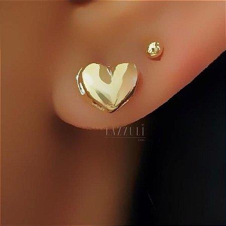 Brinco Mini Coração Liso 0.7cm Banhado em Ouro18k