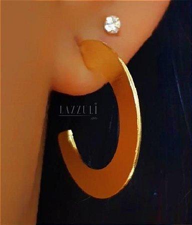 Brinco Argola Achatada Lisa 2.5 cm Banhado em Ouro18k