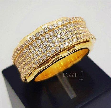 Anel Todo em Micro Zircônias Cristal Banhado em Ouro18k (SKU: 00010440)
