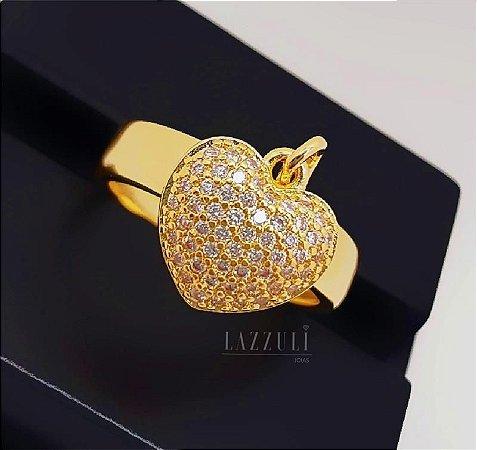 Anel Pingente Coração Micro Zircônias Banhado em Ouro18k (SKU: 00010441)