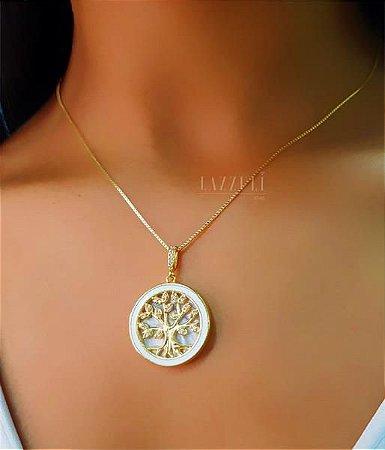Colar Mandala Árvore da Vida com Resina Branca e Micro Zircônias Banhado em Ouro18k