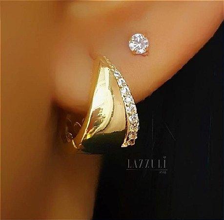 Brinco Argola com Detalhes 1 Fileira Micro Zircônias Cristal Banhado em Ouro18k