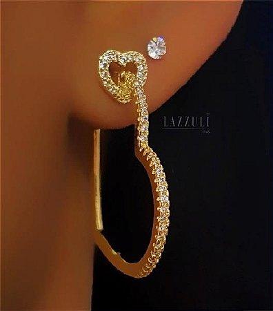 Brinco Argola Coração 3.0cm Luxury Banhado em Ouro18k (SKU: 00031217)