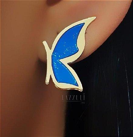 Brinco Borboleta Pequena Resina Azul Banhada em Ouro18k