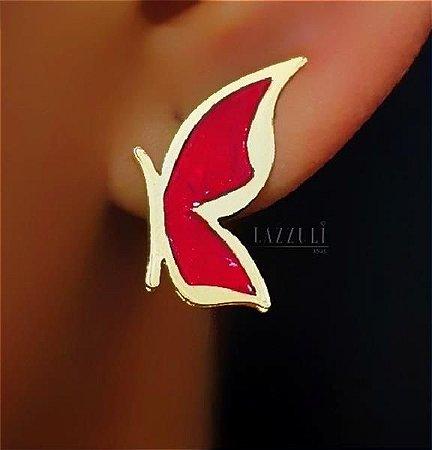 Brinco Borboleta Pequena Resina Vermelha Banhada em Ouro18k