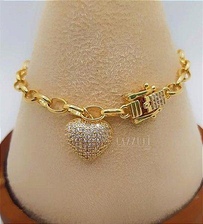 Pulseira Elos com Fecho Luxury e Pingente Coração Micro Zircônias Cristais Banhado em Ouro18k