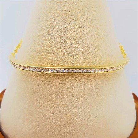 Pulseira / Bracelete com 1 Fileira Micro Zircônia Cristal Banhado em Ouro18k
