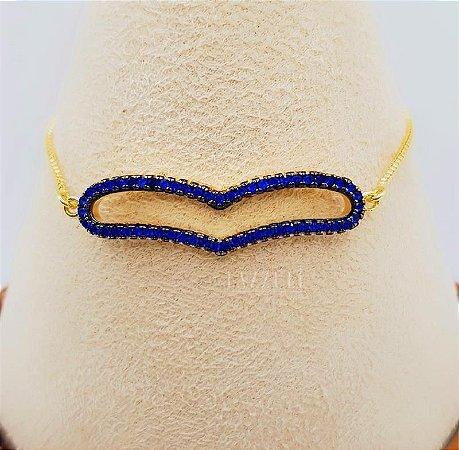 Pulseira Regulável Coração Cravejado Zircônia Azul Banhado em Ouro18k