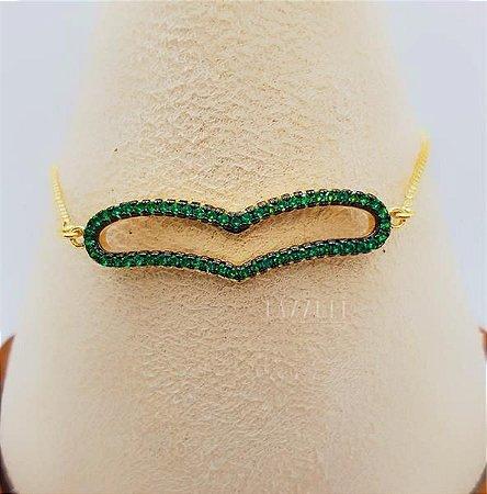 Pulseira Regulável Coração Cravejado Micro Zircônia Verde Banhado em Ouro18k