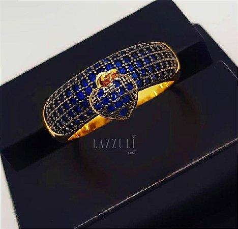 Anel Meia Aliança Grosso com Pingente Coração PP Micro Zircônias Azul Banhado em Ouro18k