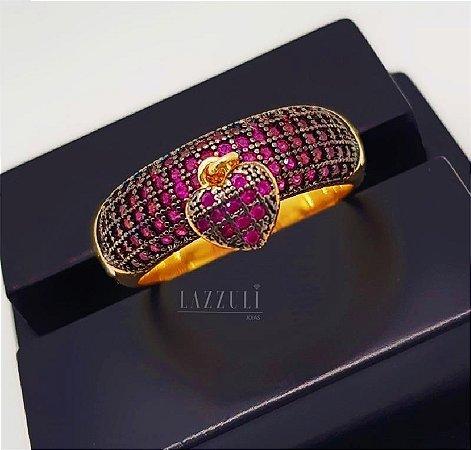 Anel Meia Aliança Grosso com Pingente Coração PP Micro Zircônias Rosa Banhado em Ouro18k