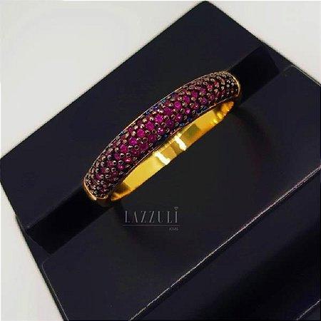 Anel Meia Aliança 3 Fileiras Micro Zircônias Rosa Banhado em Ouro18k