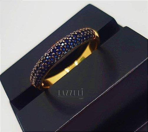 Anel Meia Aliança 3 Fileiras com Micro Zircônias Azul Banhado em Ouro18k