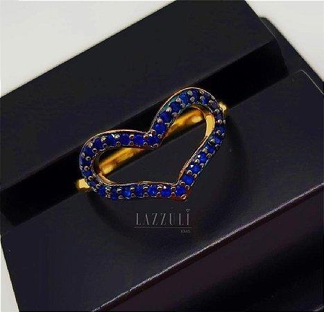 Anel Coração Vazado Micro Zircônias Azul Banhado em Ouro18k