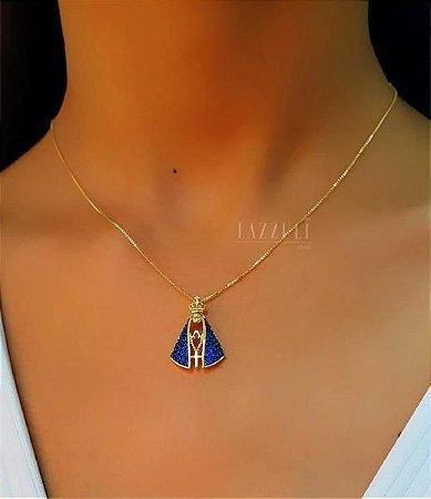 Colar Nossa Senhora 2.3cm com Zircônia Azul Banhado em Ouro18k