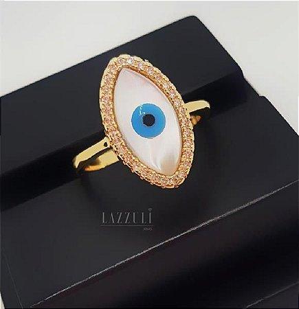 Anel Olho Grego com Madrepérola e Micro Zircônia Banhado em Ouro18k (SKU:00010588)