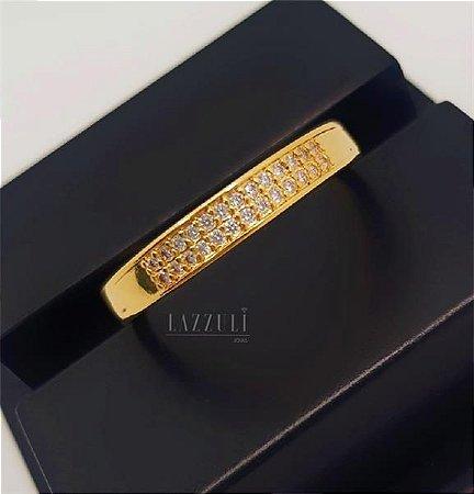 Anel Aparador New Gold Micro Zircônia Cristal Cravejada Banhado em Ouro18k (SKU: 00010597)