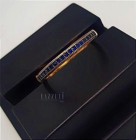 Anel Meia Aliança Micro Zircônia Azul Banhado em Ouro18k (SKU: 00010599)