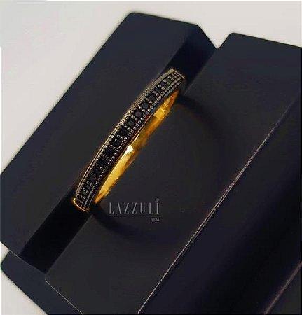 Anel Meia Aliança Micro Zircônia Negro Banhado em Ouro18k (SKU: 00010600)