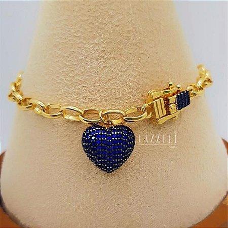Pulseira Elos com Fecho Luxury e Pingente Coração Micro Zircônias Azul Banhado em Ouro18k