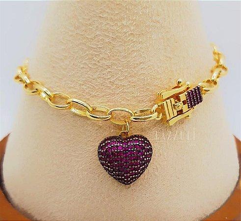 Pulseira Elos com Fecho Luxury e Pingente Coração Micro Zircônias Rosa Banhado em Ouro18k
