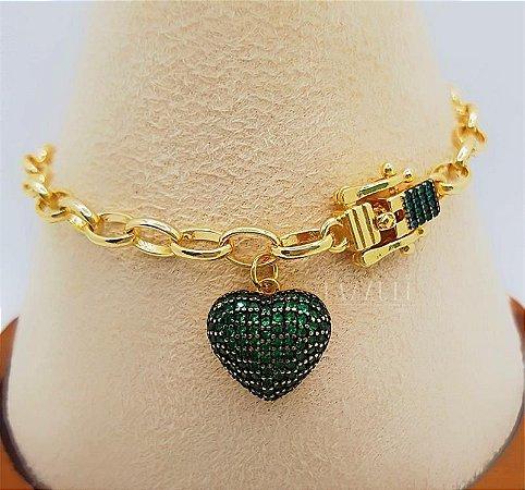 Pulseira Elos com Fecho Luxury e Pingente Coração Micro Zircônias Verde Banhado em Ouro18k