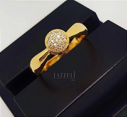 Anel Mini Chuveirinho 0.7 cm com Micro Zircônias Banhado em Ouro18k