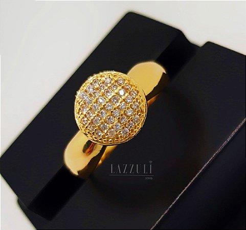 Anel Mini Chuveirinho 0.9 cm com Micro Zircônias Banhado em Ouro18k