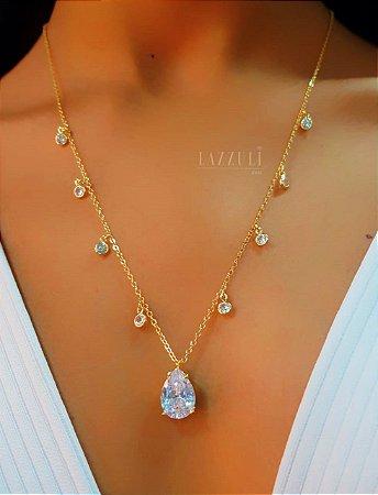 Colar 8 Tiffany com Gota Zircônia Cristal Banhado em Ouro18k