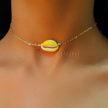 Choker Búzios com Resina Amarela Banhado em Ouro18k