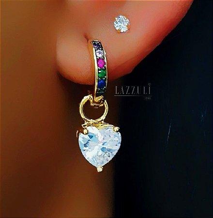 Brinco Argolinha Colorida com Pingente Coração Zircônia Cristal Banhado em Ouro18k