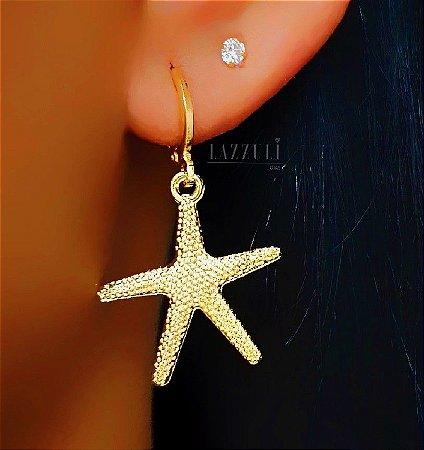 Brinco Mini Argola Estrela do Mar Pontilhada Banhado em Ouro18k